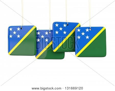 Square Labels With Flag Of Solomon Islands
