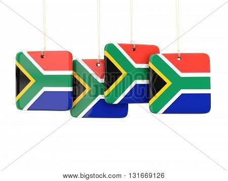 Square Labels With Flag Of South Africa