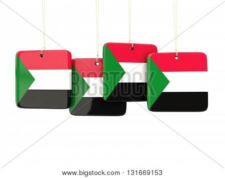 Square Labels With Flag Of Sudan