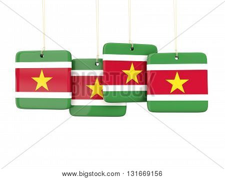 Square Labels With Flag Of Suriname