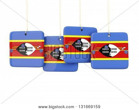 Square Labels With Flag Of Swaziland