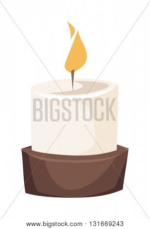 Burning candle in a stand flat vector illustration