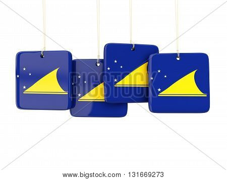 Square Labels With Flag Of Tokelau