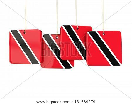 Square Labels With Flag Of Trinidad And Tobago