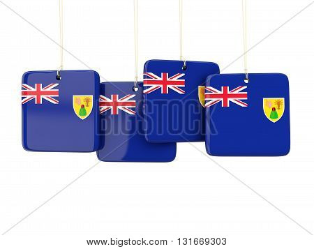 Square Labels With Flag Of Turks And Caicos Islands