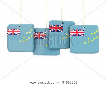 Square Labels With Flag Of Tuvalu