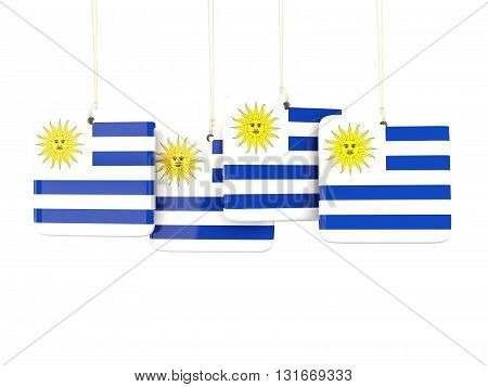 Square Labels With Flag Of Uruguay