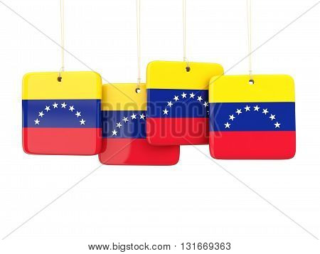 Square Labels With Flag Of Venezuela