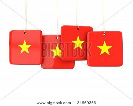 Square Labels With Flag Of Vietnam