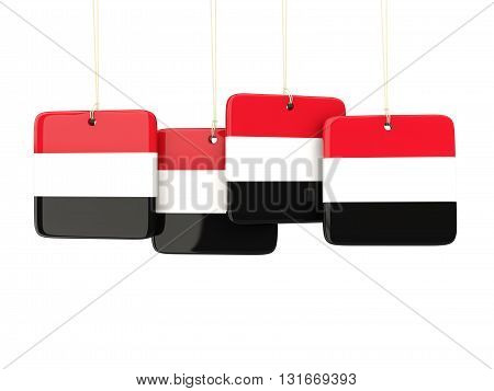 Square Labels With Flag Of Yemen