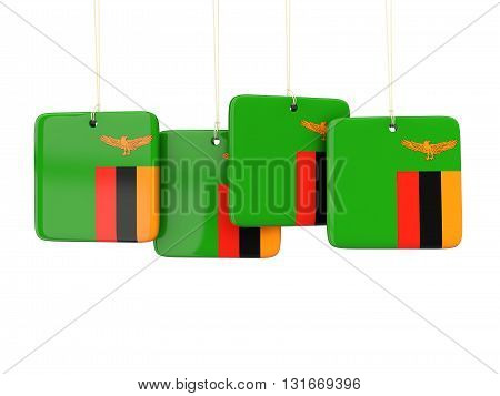 Square Labels With Flag Of Zambia