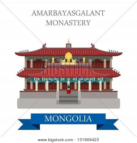 Amarbayasgalant Buddhist Monastery Mongolia vector attraction
