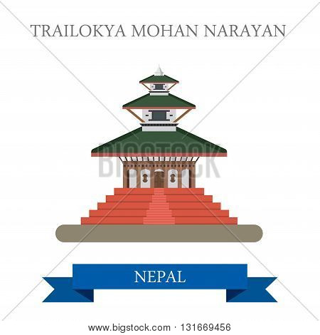 Trailokya Mohan Narayan Temple Nepal vector flat attraction