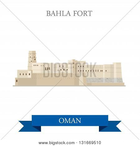 Bahla Fort in Oman vector flat attraction travel landmark