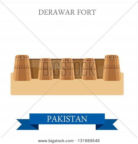 Derawar Fort Bahawalpur Punjab Pakistan vector flat attraction