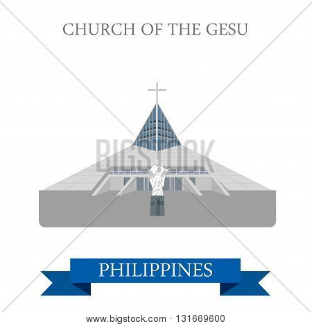 Church of Gesu Manila Philippines vector flat attraction travel