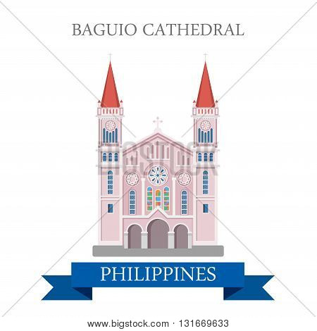 Baguio Cathedral Philippines vector flat attraction landmark