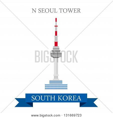 N Seoul Tower South Korea landmarks vector attraction travel