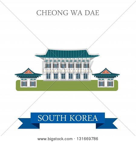 Cheong Wa Dae South Korea landmarks vector flat attraction