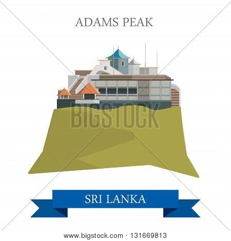 Adams Peak Sri Lanka landmarks vector flat attraction travel