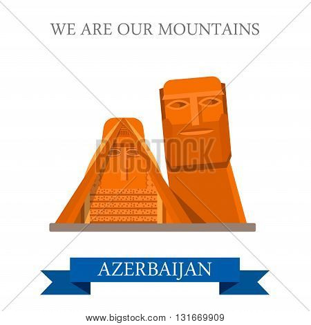 We are our Mountains Azerbaijan landmarks vector flat attraction