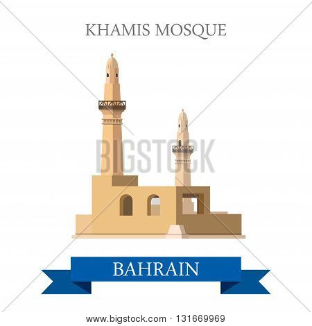 Khamis Mosque Bahrain landmarks vector flat attraction travel