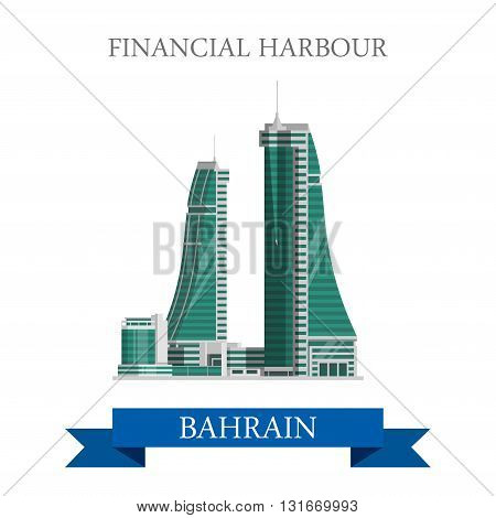 Financial Harbor Bahrain landmarks vector flat attraction travel