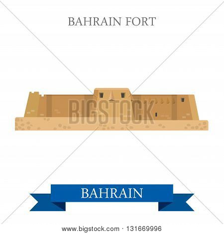 Bahrain Fort landmarks vector flat attraction travel