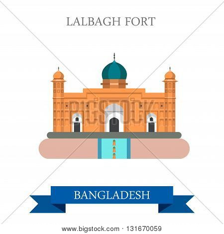 Lalbagh Fort Dhaka Bangladesh landmarks vector flat attraction