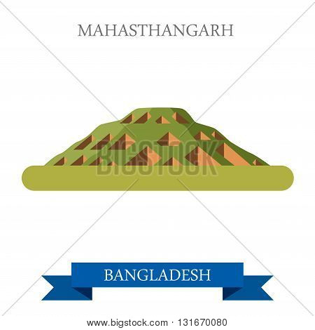 Mahasthangarh Bogra Bangladesh landmarks vector flat attraction