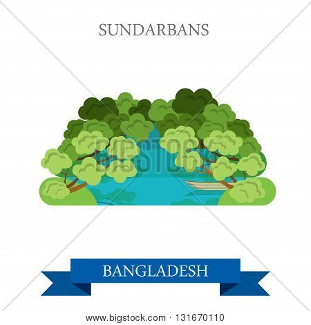 Sundarbans Bangladesh landmarks vector flat attraction travel
