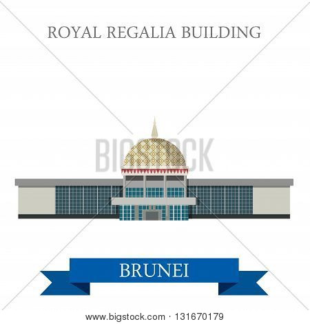 Royal Regalia Building Brunei landmarks vector flat attraction