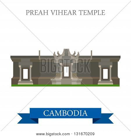 Preah Vihear Hindu Temple in Cambodia vector flat attraction