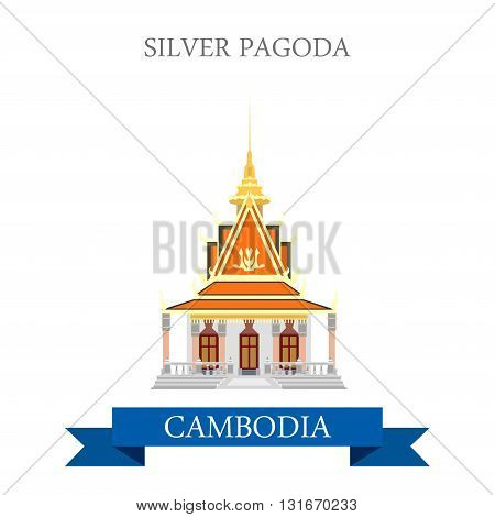 Silver Pagoda in Cambodia vector flat attraction landmarks