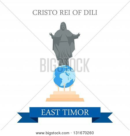 Cristo Rei of Dili Jesus Statue East Timor vector attraction
