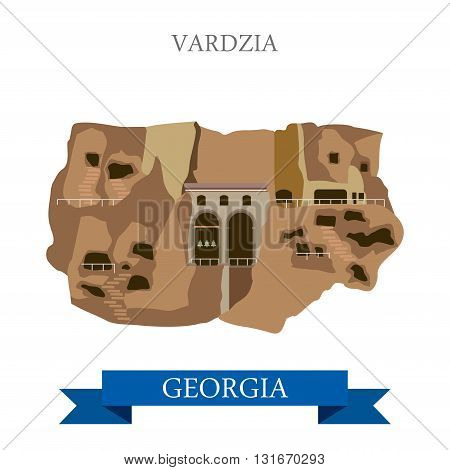 Vardzia cave monastery Georgia vector flat attraction landmarks