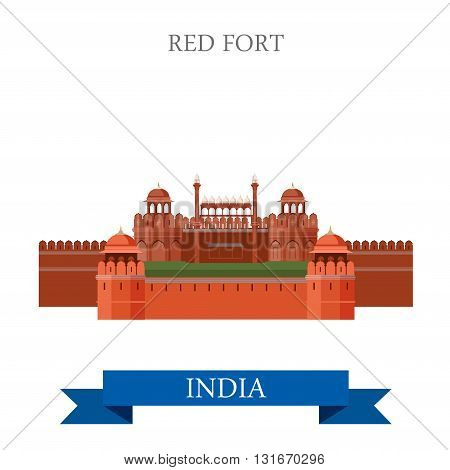 Red Fort in New Dehli, India vector flat attraction landmarks