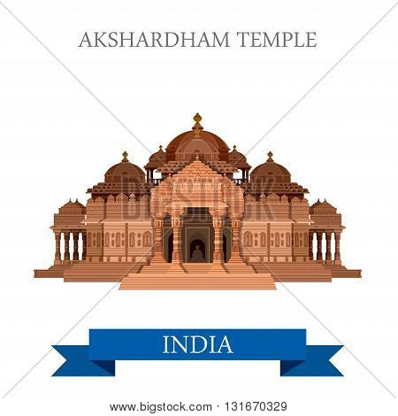Akshardham Hindu Temple New Dehli India vector flat attraction