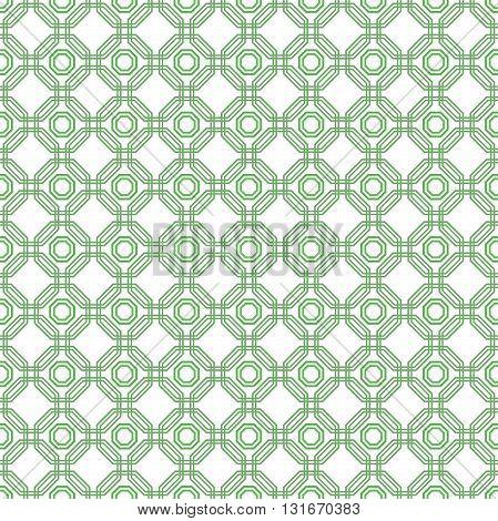 Geometric green abstract vector octagonal background. Seamless modern pattern