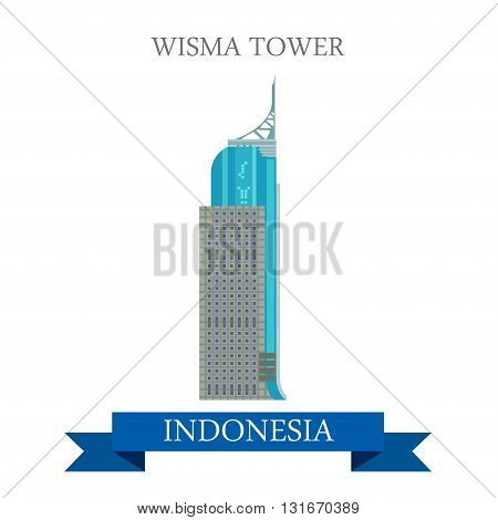 Wisma Tower in Jakarta, Indonesia vector flat attraction