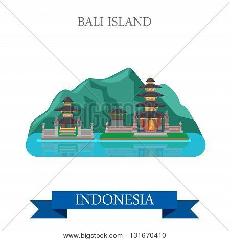 Bali Island in Indonesia vector flat attraction