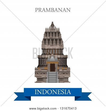 Prambanan Hindu Temple in Indonesia vector flat attraction