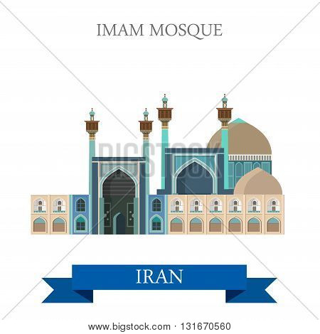 Imam Shah Mosque Iran vector flat attraction landmarks