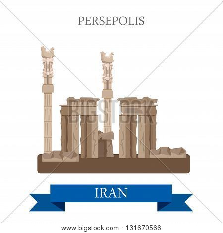 Persepolis in Iran vector flat attraction landmarks