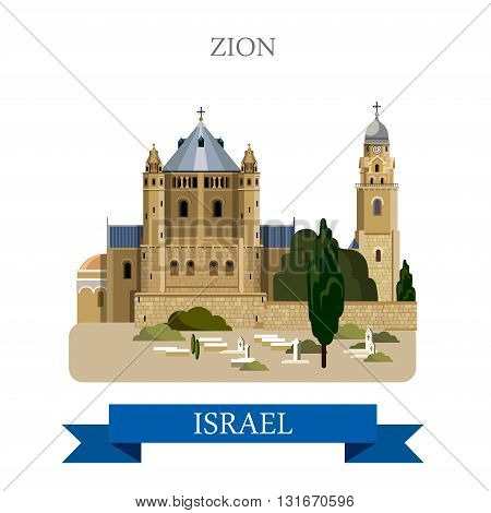Zion in Israel vector flat attraction landmarks