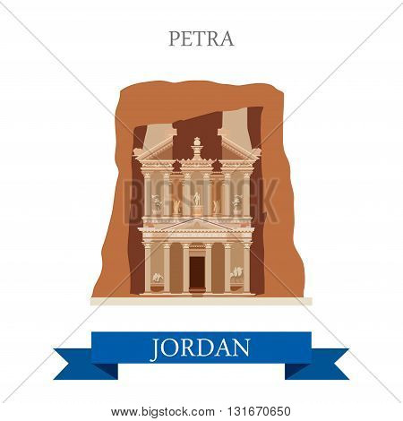 Petra in Jordan vector flat attraction landmarks
