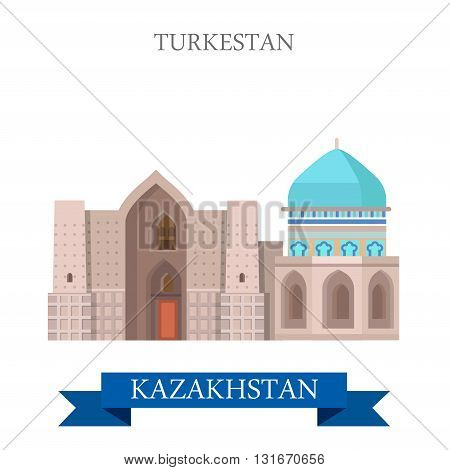 Turkestan in Kazakhstan vector flat attraction landmarks