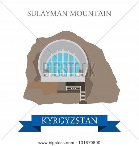 Sulayman Mountain in Kyrgyzstan vector flat attraction landmarks