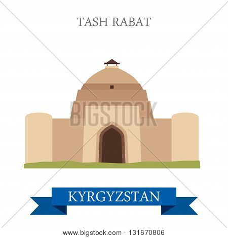 Tash Rabat in Kyrgyzstan vector flat attraction landmarks