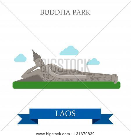 Buddha Park in Laos  vector flat attraction landmarks